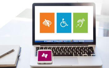 laptop met toegankelijkheid iconen